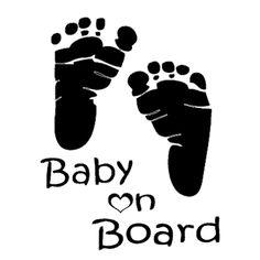 15*12cm Funny Feet Baby On Board Vinyl Car Sticker Rear Windshield cartoon car body Black/Silver etc 13 color decal