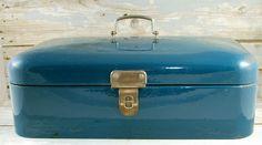Vintage antique  Dutch bread box in blue enameled steel