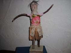 Mixed Media Clothespin doll Crewel work by AgoVintage on Etsy, $56.00