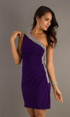 Short One Shoulder Purple Dress