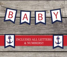 Nautical Boy Flag Bunting Banner - Ahoy its a Boy - Baby Shower Games - Anchors Away 217