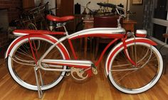 """1941 Firestone Super Cruiser - Bullnose - This outstanding Firestone Super Cruiser, made by Colson is commonly referred to as a """"Colson Bullnose"""" due to the unique rounded shape to the front of Bicycle Drawing, Old Bikes, Cool Bicycles, Girls Weekend, Vintage Bicycles, Tricycle, Vintage Silver, Cruiser Bikes, Cool Stuff"""