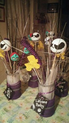 Nightmare before Christmas baby shower centerpieces