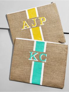Accessories That Make The Outfit Cricut Paper Cutter, Painted Monogram, Hand Painted, Monogram Clutch, Jute Bags, Little Bag, Fabric Painting, Cosmetic Bag, Best Gifts