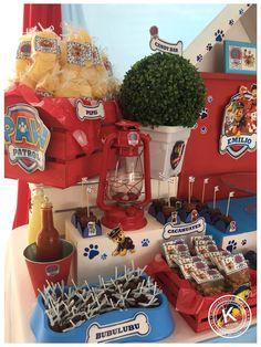 Mesa de dulces | candy bar | cumpleaños | paw patrol | fiesta | rojo y azul | chase |mascotas | perros | www.beKUUKI.com