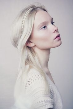 Ethereal white-blonde hair. Aloxxi Hair Color Personality Sistine Candles® | platinum blonde hair crown braid