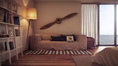 Apartment, Eclectic Living Room Added To The Wall Design With Big Bamboo Propeller: Beautiful Interior Design by Uglyanitsa Alexander