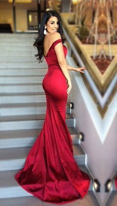 Gorgeous Hot Sale Sexy Prom Dresses,Off Shoulder Evening Dresses,Red Satin Evening Dresses,Backless Stunning Prom Gowns,Long Formal Dresses