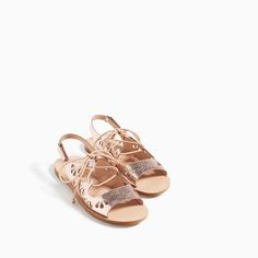 Image 6 of METALLIC SANDALS WITH CORDS from Zara