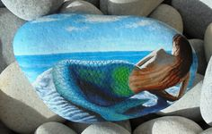 Mermaid Hand Painted on Rock Painted with high by RockArtAttack