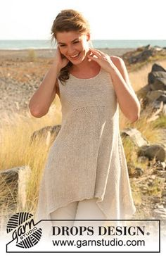 "Knitted DROPS tunic, worked top down with extra width in ""Bomull-Lin"". Size: S - XXXL. ~ DROPS Design"
