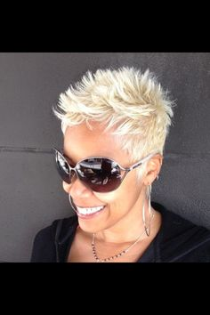 Short and blonde.