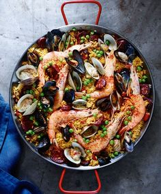 Spanish Paella with Chorizo and Seafood | Chock-full of seafood plus spicy chorizo, this one-pan meal will satisfy a crowd.