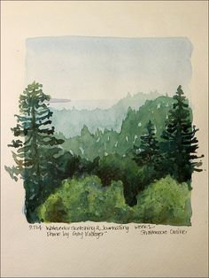 Neat idea, painting outside the frame Stacy Egan - Workshop Watercolor Sketching & Journaling Painting Inspiration, Art Inspo, Painting & Drawing, Gouache Painting, Arte Sketchbook, Fashion Sketchbook, Watercolor Trees, Watercolor Journal, Watercolor Landscape Tutorial