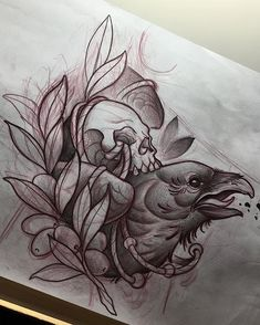 #illustration #neotraditionel #neotraditional #neo #traditionel #traditional #draw #drawing #tattoo #ink #tattooed #inked #sketch #sketches #flowers #animals #raven #crow