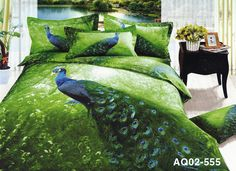 blue peacock bedding   Blue Peacock New Double Size Quilt Cover 100% Cotton Duvet Cover