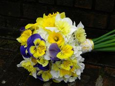 Wedding Flowers from Springwell: Daffodil and Pansy Bouquet for Winter and Spring