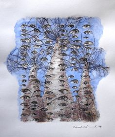 Aspen Eyes 16, 2008, by Carol Hummel (www.carolhummel.com) The eyes of the Aspen trees are beautiful and mysterious. This work on paper is one in a series created during my Colorado Art Ranch residency in Steamboat Springs.