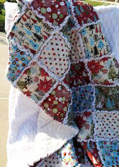 Rag Quilt Christmas Joy Christmas Trees Dots