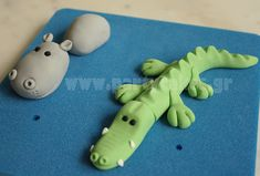 Alligator and Hippo espectacular sitio web Jungle Theme Cakes, Safari Cakes, Cake Topper Tutorial, Fondant Tutorial, Fondant Figures, Clay Figures, Clay Projects, Clay Crafts, Zoo Cake