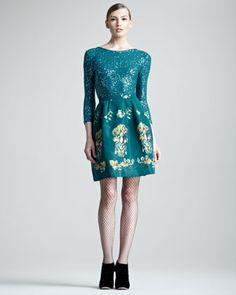 Sequined Pullover & Printed Silk Skirt by Oscar de la Renta at Neiman Marcus.#NMFallTrends