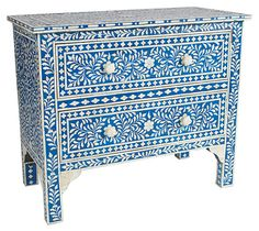 One Kings Lane - An Artful Approach - Jules 2-Drawer Chest, Sky Blue/Ivory