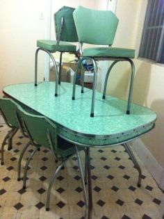 Vintage Retro Rare Chrome Laminex 50s 60s Kitchen Dining Table ...