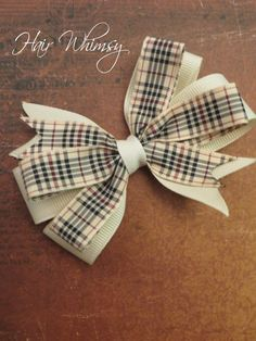Burberry Inspired Hair Bow in Ivory and Tartan by HairWhimsy1, $6.00