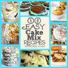 50 Easy Cake Mix Recipes from SixSistersStuff.com- the ultimate cake mix collection!