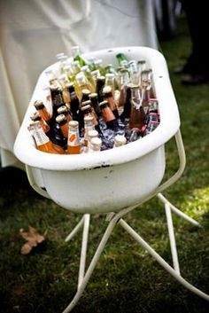 Fill an old bathtub with ice and drinks. Yay!