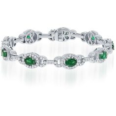 18k white gold diamond & emerald bracelet ($12,000) ❤ liked on Polyvore featuring jewelry, bracelets, white gold diamond bangle, diamond jewelry, emerald bangle, diamond bangles and emerald jewelry