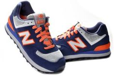 Women New Balance 574 Blue Orange Shoes Sale.$77.99