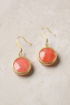 coral anthropologie earrings for bridesmaids in grey dresses