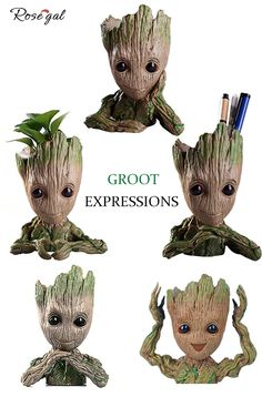 Groot Groot flower pot with different expressions . Clay Art Projects, Clay Crafts, Groot Action Figure, Cup Art, Cute Stories, Pottery Sculpture, Mural Wall Art, Marvel Wallpaper, Green Man