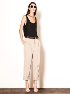 Creased cotton-blend trousers | Elizabeth and James