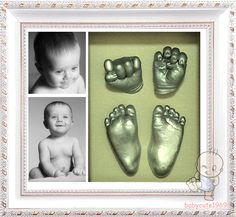 New Baby gift 3D casting kit bronze hand feet foot cast Natural pine box frame