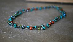Wire Wrapped Gemstone Necklace  Blue Green  Teal  by letemendia, $65.00
