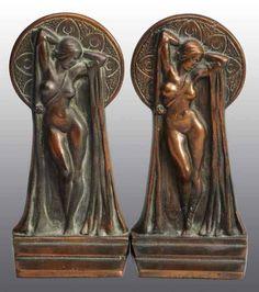 Bronze Art Deco Nude Bookends.