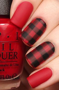 Love plaid? you can actually do this design now on your nails. On glossy nail polish, it won't have the original feeling to it. But with matte, it's perfect; especially in red and black.