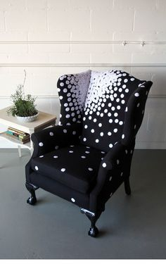 A stylized wingback chair