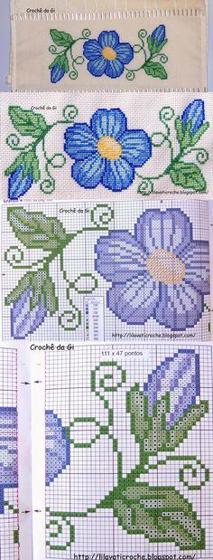 Crochê da Gi Ponto Cruz - Flor Azul