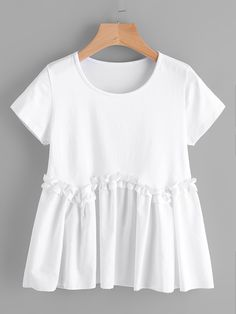 Shop Frill Smocked Swing Tee online. SheIn offers Frill Smocked Swing Tee & more to fit your fashionable needs.
