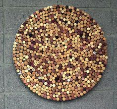 This abstract wall piece is a mosaic of wine-bottle corks. PHOTO BY: Deirdre Hamill/The Arizona Republic azjen12