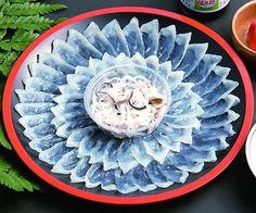 fugu-sashimi (blowfish) delicious when not deadly Japanese Snacks, Japanese Food, Sashimi Sushi, Amazing Food Art, Sushi Art, Sushi Recipes, Exotic Food, White Meat, Creative Food
