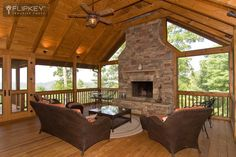 We just love this screened porch with the outdoor fireplace!