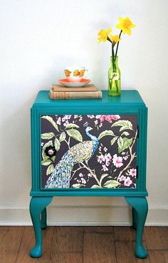 Peacock green bedside cabinet/unit hand by SarahsUglyDucklings Funky Furniture, Paint Furniture, Repurposed Furniture, Furniture Projects, Furniture Makeover, Peacock Bedroom, Peacock Decor, Peacock Colors, Home Goods Decor