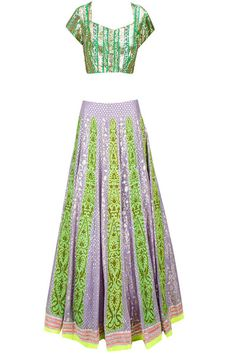 lavender and lime green lehenga with gota work short sleeves blouse and deep sweetheart neckline . Georgette lehenga with lavender thin panels box pleat lehenga, cocktail or reception lehenga, unique contrast