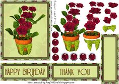 3D decoupage birthday and thank you topper freebie