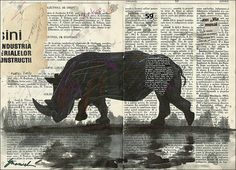 Original abstract collage & drawing rhino nature mixed by rcolo