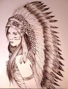 Wonderful Indian Chief Female Tattoo Design By AdrianLam